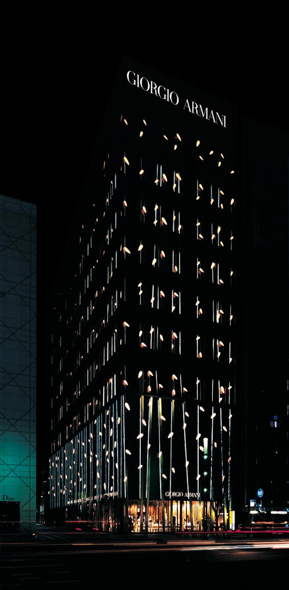 服装旗舰店外立面设计夜景