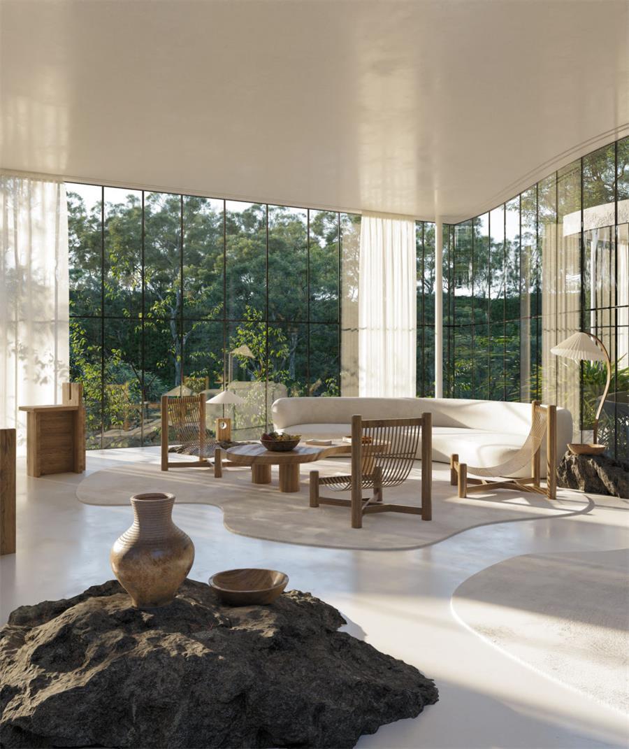 别墅客厅设计与落地玻璃的结合