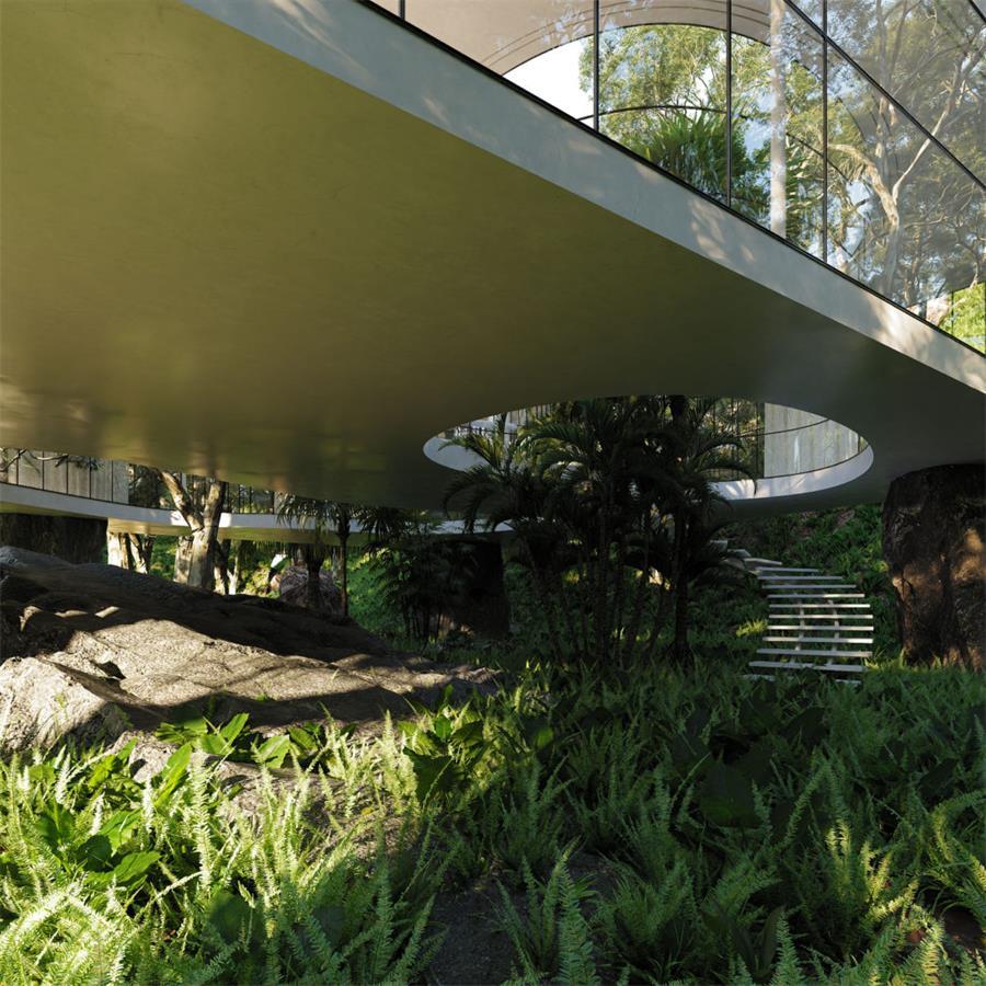 别墅建筑下方景观设计