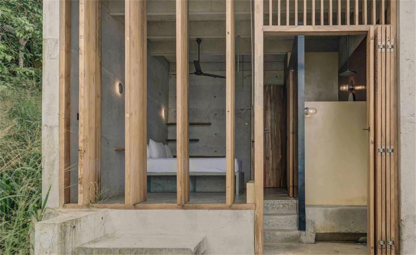 民宿入室格栅隔断及折叠门设计
