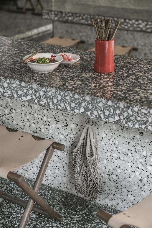 面馆水磨石餐桌设计