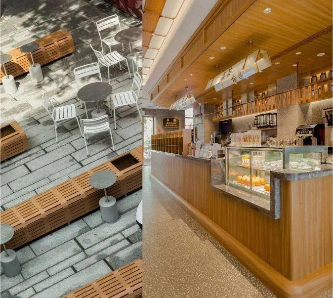 奶茶店外摆区设计及前台侧景特写