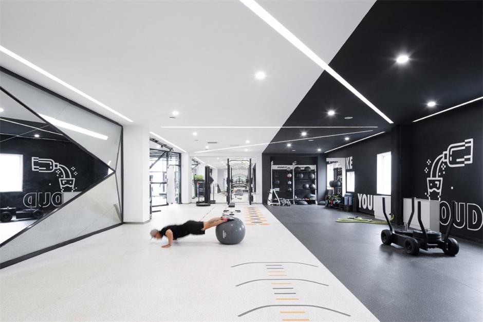 健身中心健身黑白区域设计