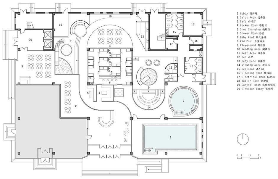 健身中心一层平面方案设计