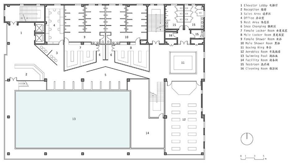 健身中心二层平面方案设计