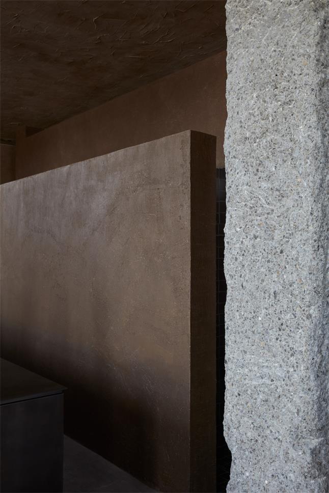 咖啡馆操作台背景墙和柱子设计细节