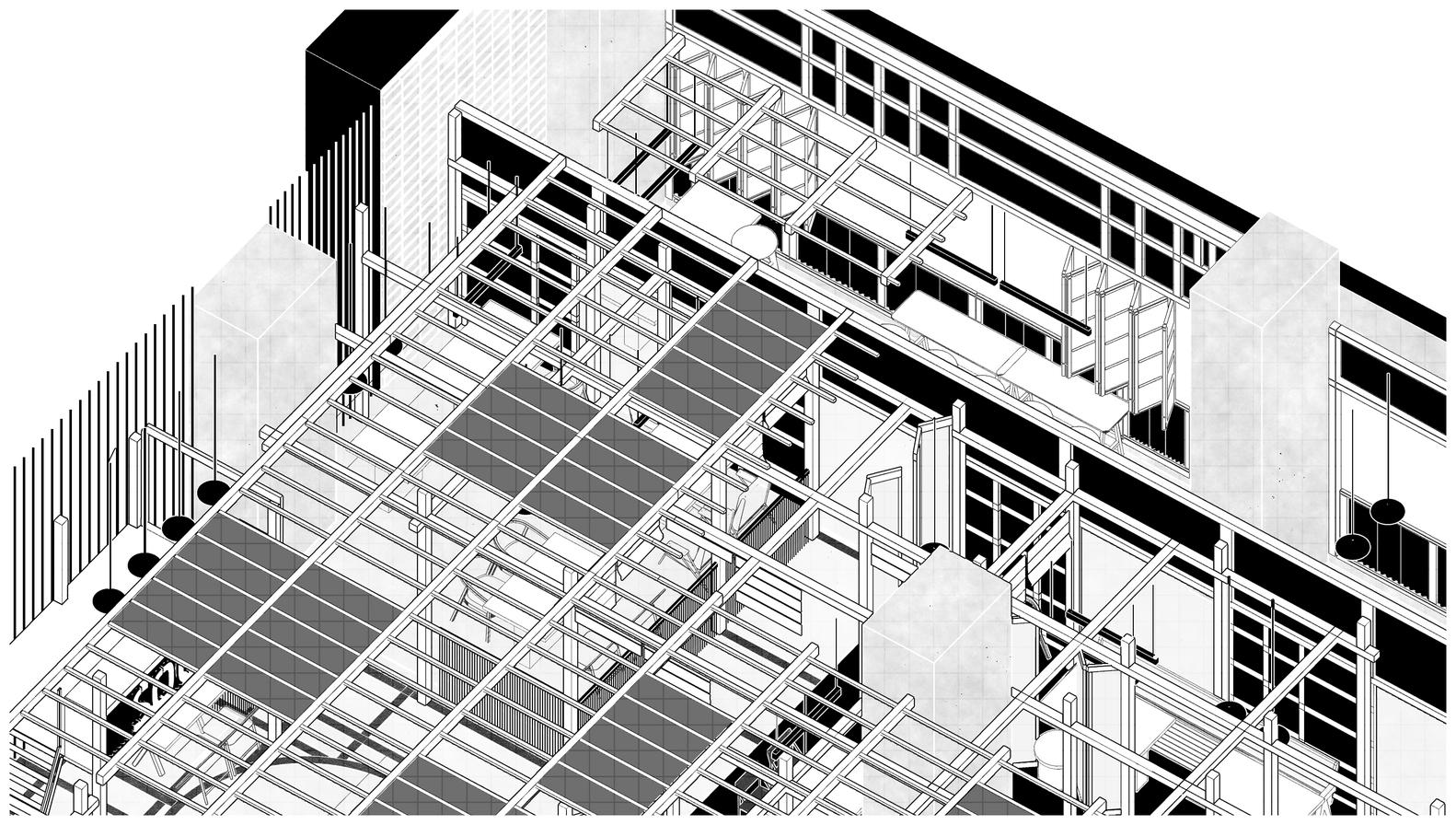 餐厅结构三维图设计