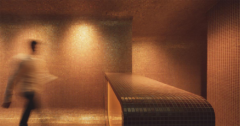 拉面及寿司外卖餐厅墙天地统一的材质设计