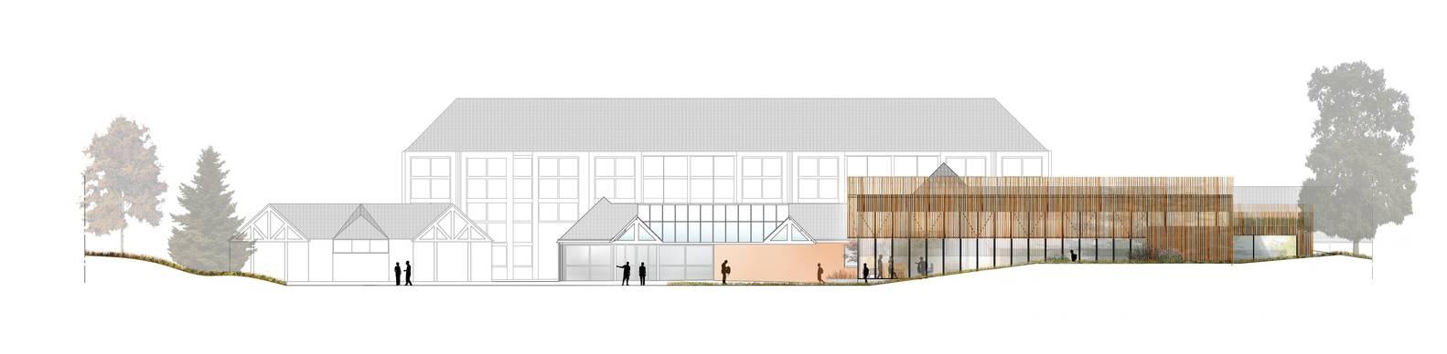 学校食堂建筑外立面彩色草图设计
