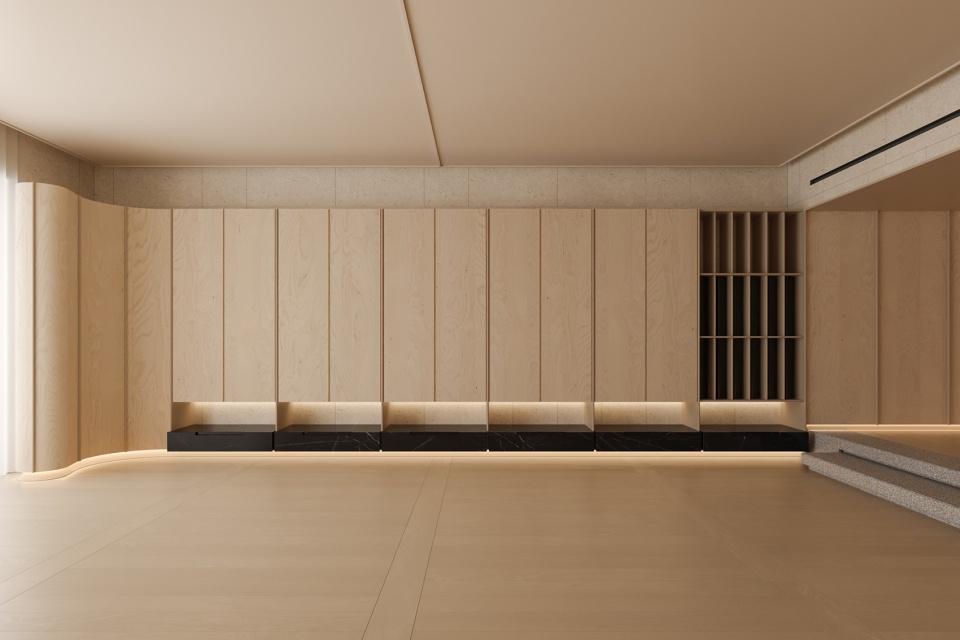 瑜伽馆储物柜造型墙设计