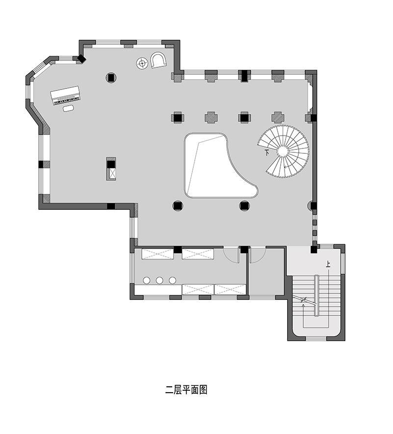 摄影空间二层平面方案设计