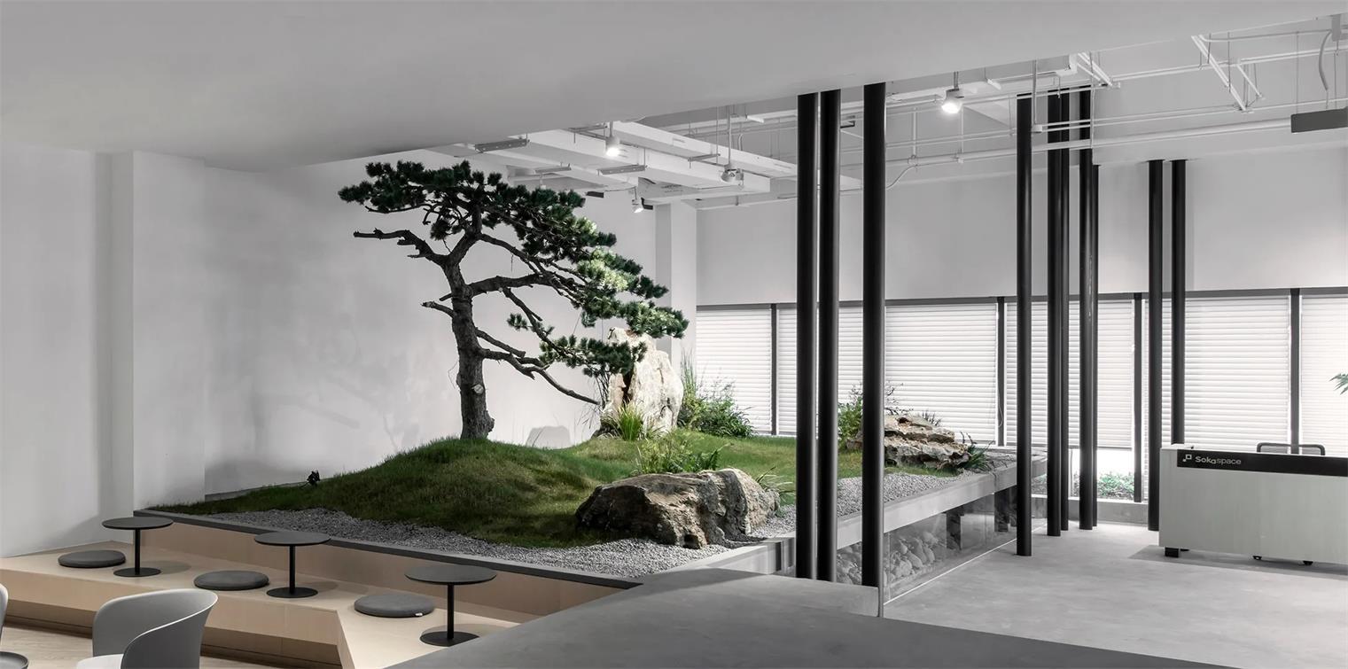 共享办公卡座与景观的结合设计