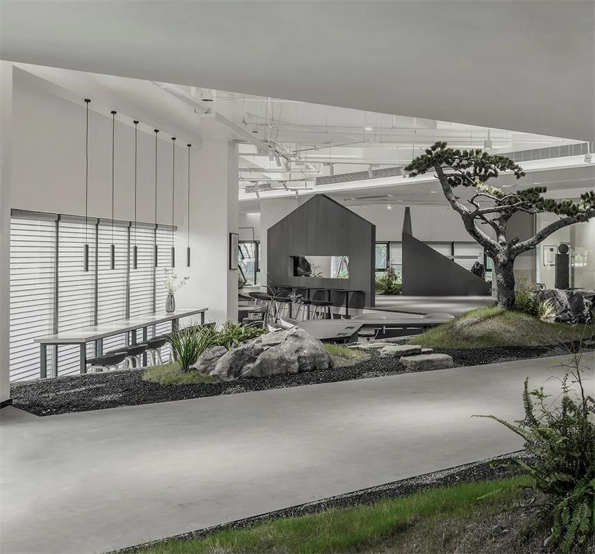 共享办公走廊以及周边的景观设计