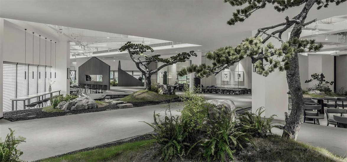 共享办公各处的树木景观设计