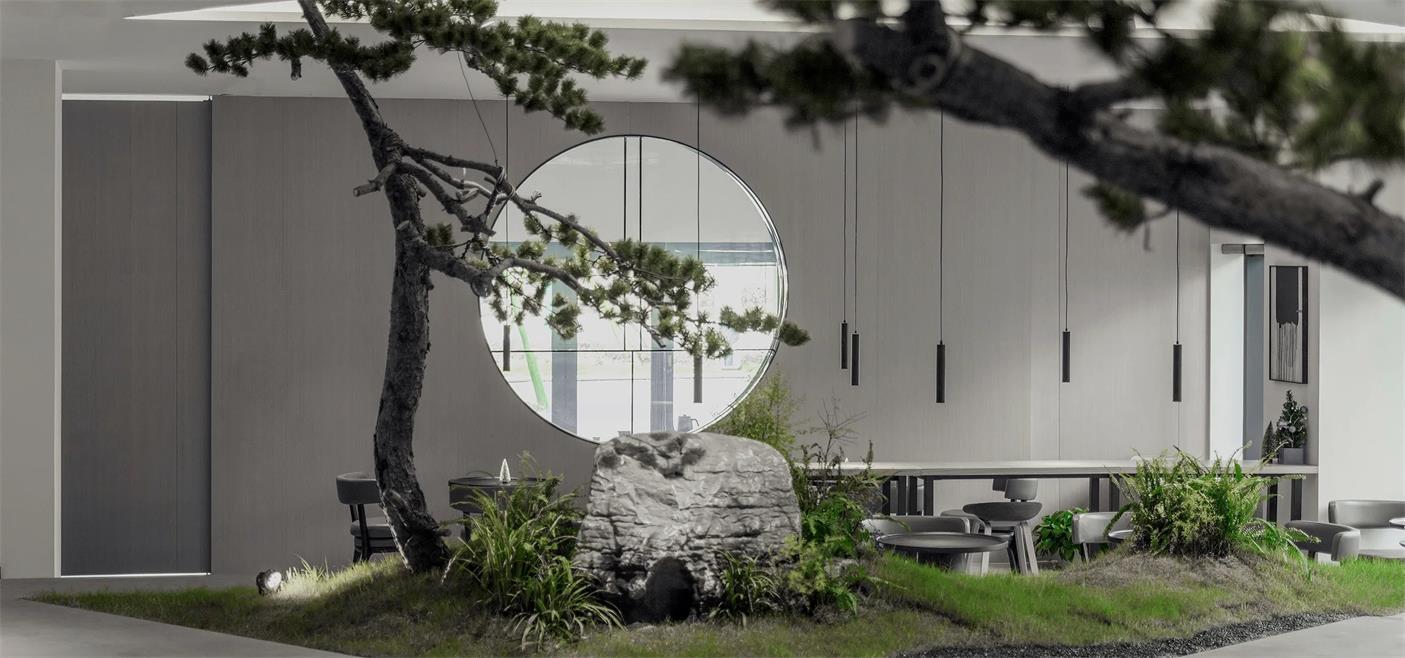 共享办公圆形窗口借景设计