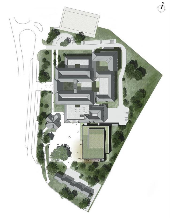 学校食堂建筑彩色平面设计