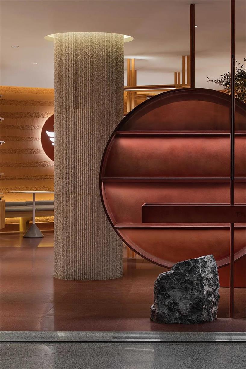 茶文化体验馆圆形展示架及柱子设计
