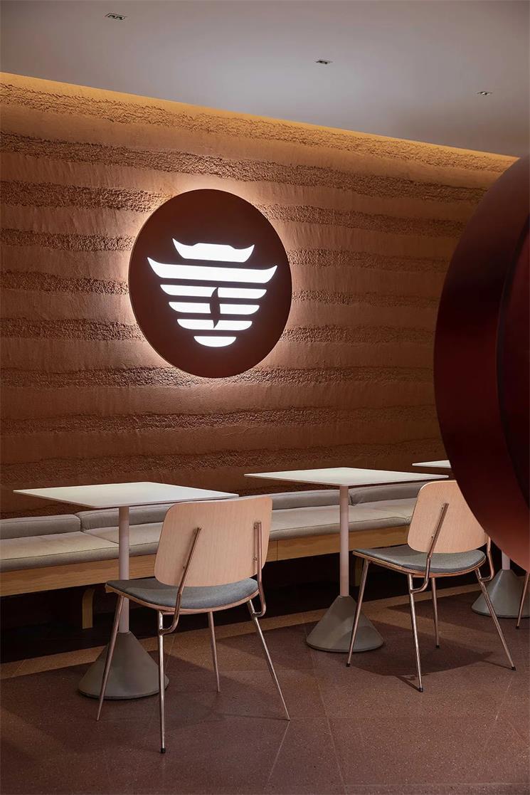 茶文化体验馆沿墙卡座及发光logo设计