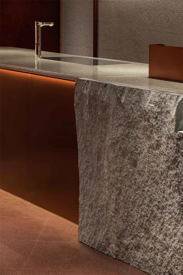 茶文化体验馆吧台灯光和材质设计细节