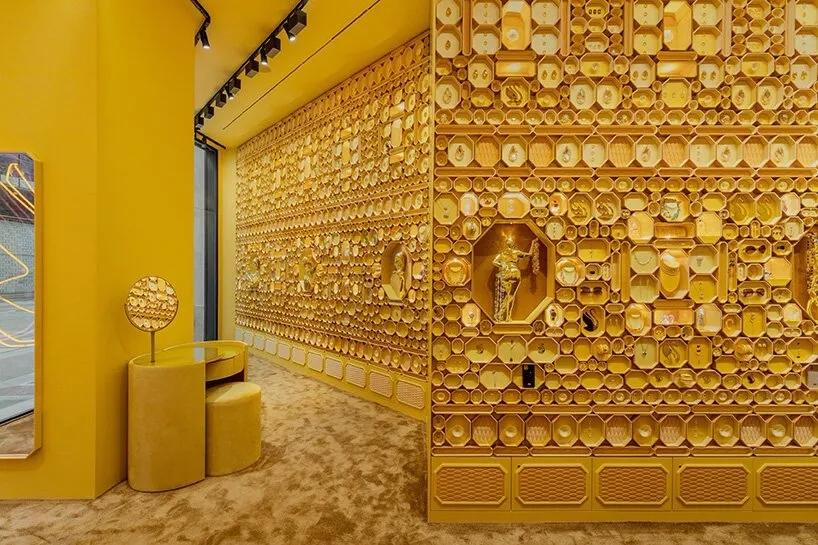 首饰店金色展示架设计