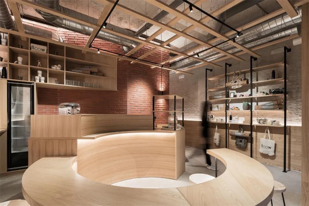 瑜伽工作室茶室弧形客座区与前台结合设计