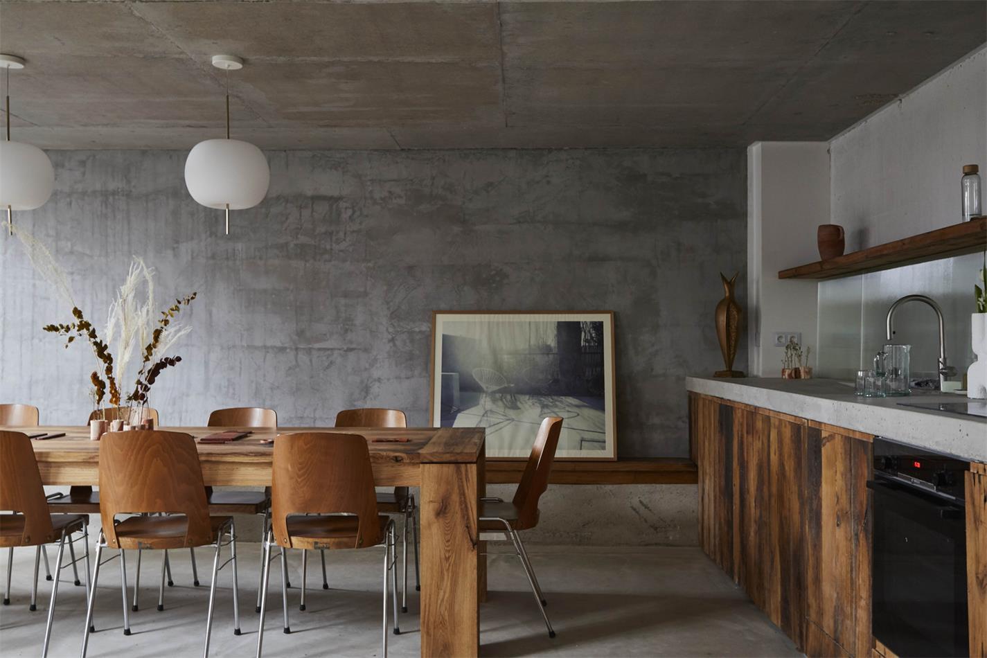 摄影工作室开放式厨房和餐厅设计