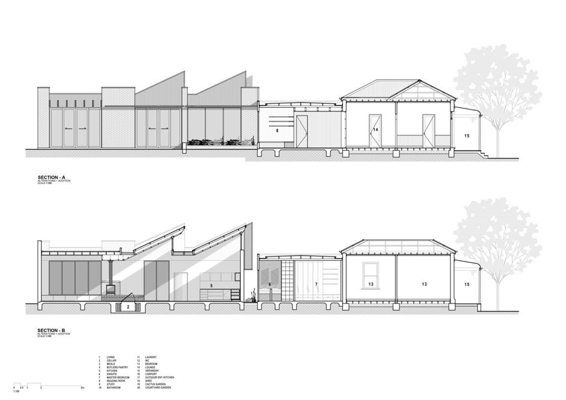 一层别墅立面剖面图设计