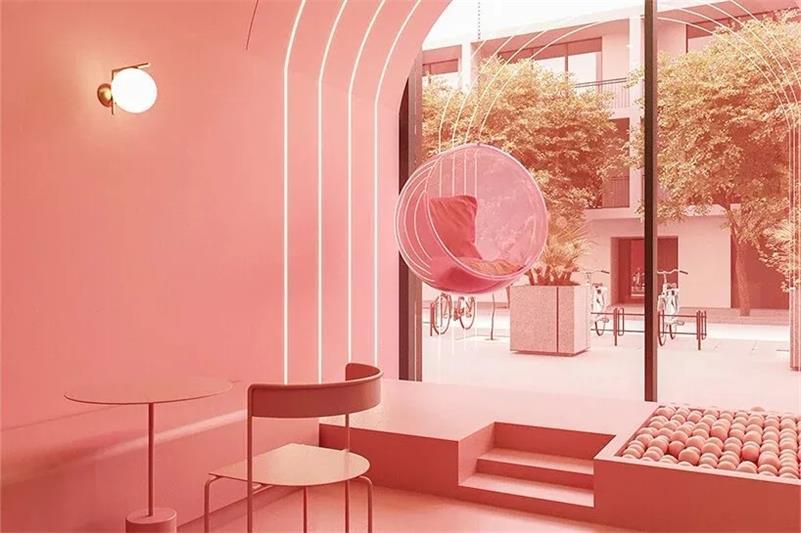 冰淇淋店沿窗座位区设计