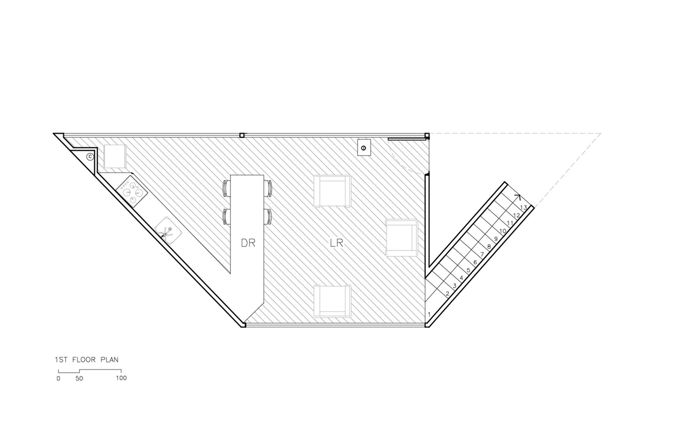 度假屋一层平面方案图设计