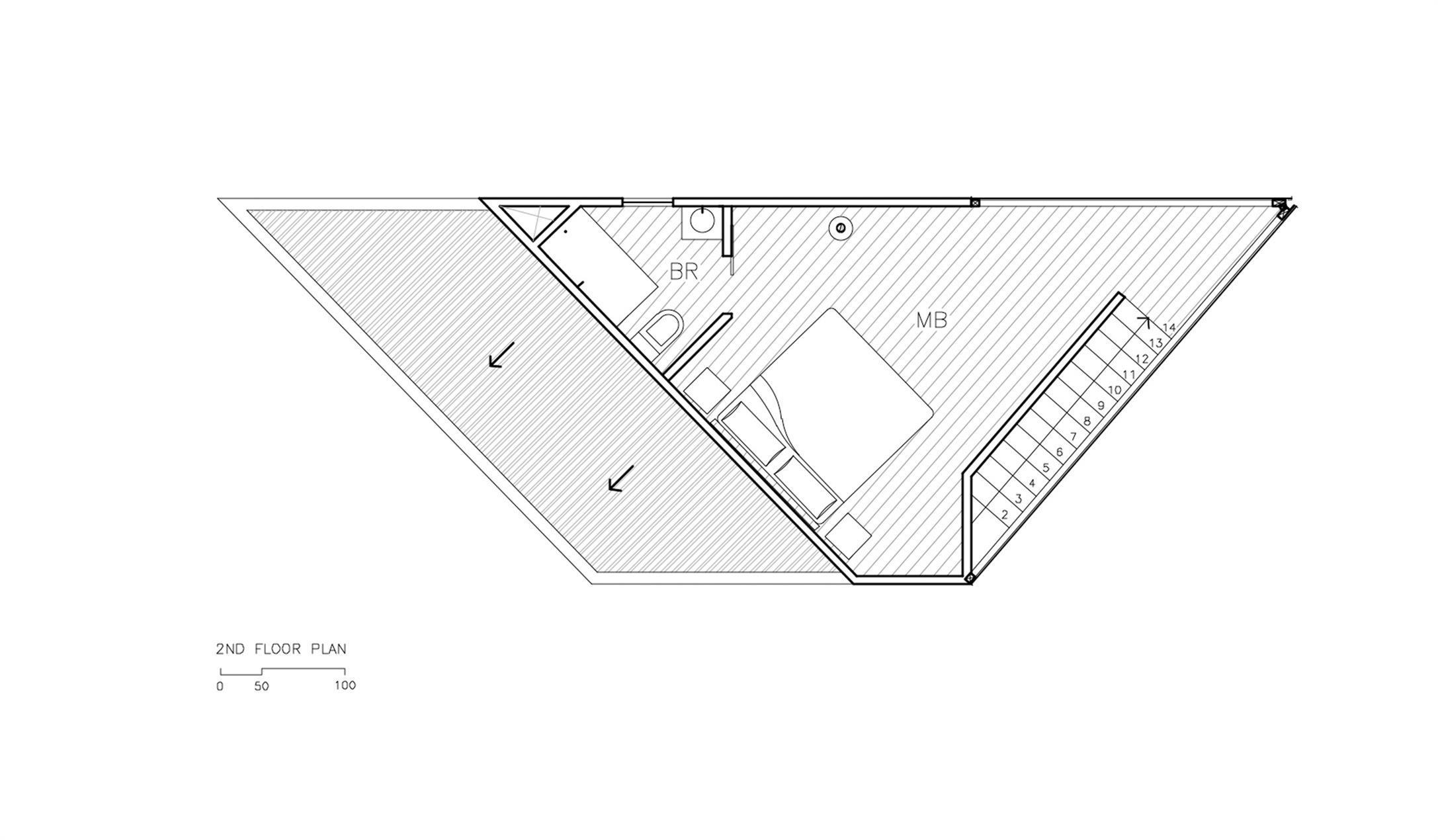 度假屋二层平面方案图设计