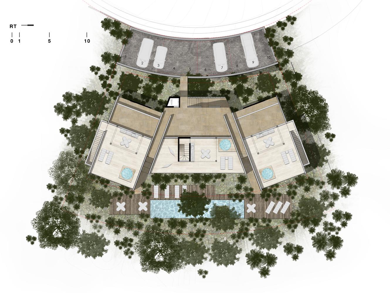 公寓楼顶层露台平面方案图设计
