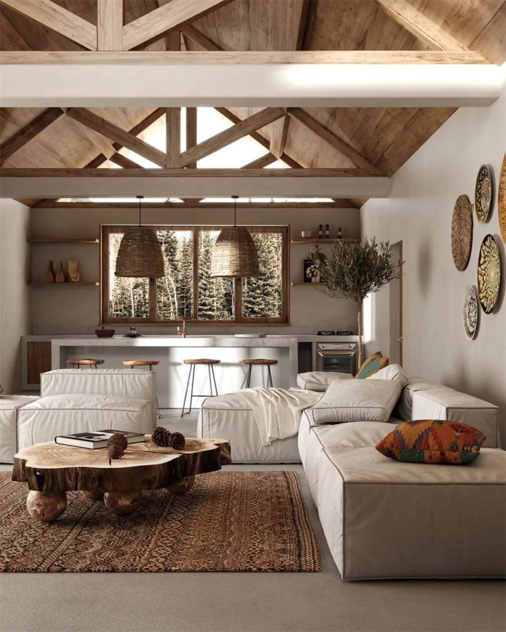 侘寂风和波西米亚风结合的住宅设计